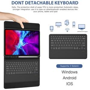 Image 4 - Para ipad pro 2020 11 12.9 caso de teclado com suporte de lápis tablet teclado bluetooth capa de couro para ipad pro 11 2020 teclado