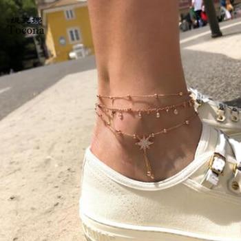 Tocona-Conjunto de 3 pulseras tobilleras estrella de cristal Natural, cadena para pies,...