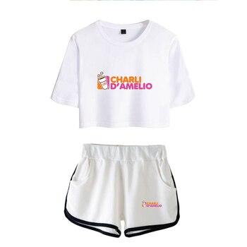 New Charli DAmelio Ice Coffee Splatter Women Two Piece Set Shorts+lovely T-shirt Sexy charli damelio merch Sport suit Girl 5