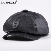 LA SPEZIA Octagonal Cap Real Leather Men Black Vintage Newsboy Caps Male Spring Casual Gatsby Hat Classic Painter Flat Hats