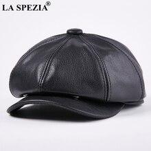 LA SPEZIA Octagonal Cap Real Leather Men Black Vintage Newsboy Caps Male Spring Casual Gatsby Hat Classic Painter Flat Hats