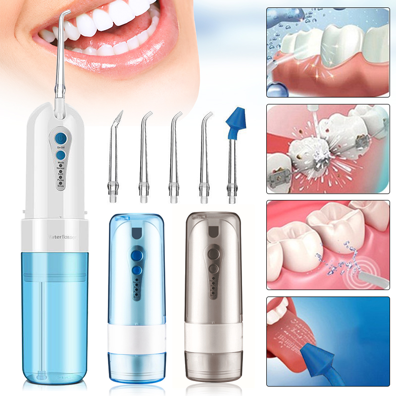 Portable Cordless Water Flosser Electric Quiet Design Oral Irrigator with Nozzles for Adults Kids