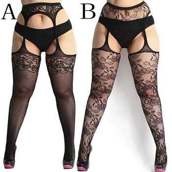 Fashion Women Lace Suspender Pantyhose Tights solid stockings Hollow Sheer Sexy Fishnet Thigh High Pantyhose Belt Garter N50 3