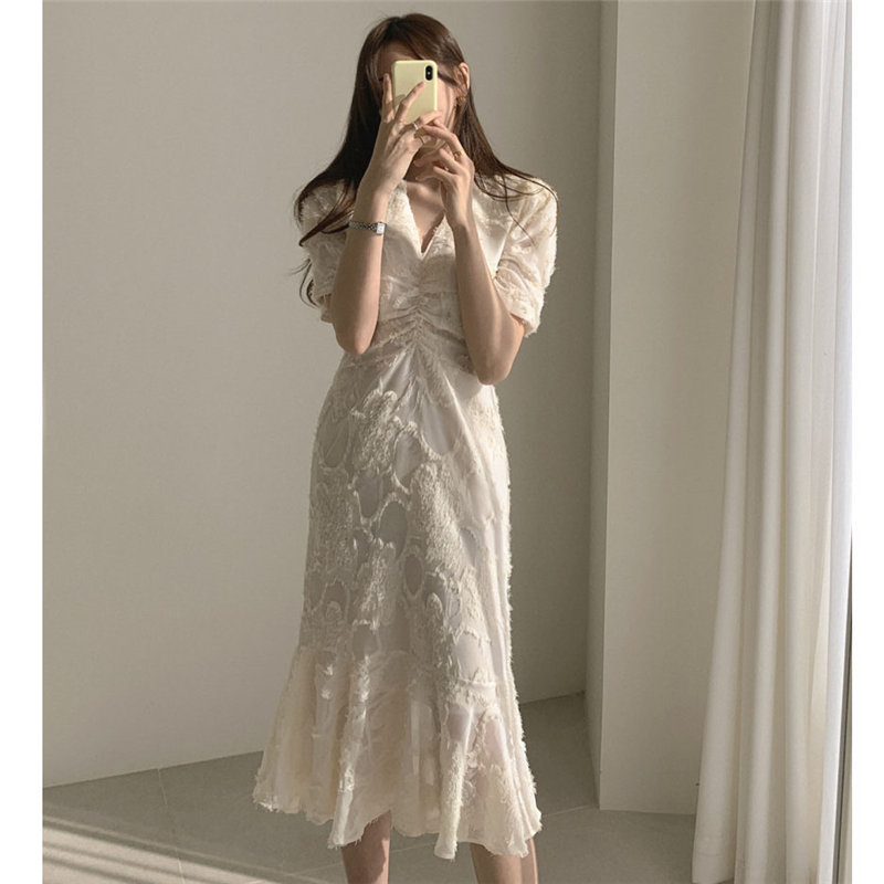 Stylish V-Neck Elegant Waist-Controlled Slimming 2020 Early Spring Plus Slender Ruffles Short-Sleeved Long Dress