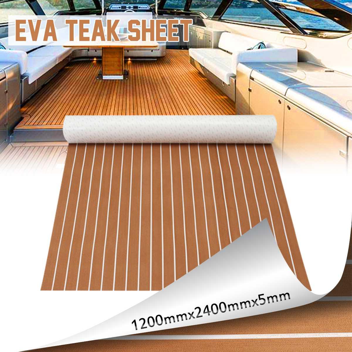 Auto-adhésif EVA bateau Yacht Marine plancher Faux Imitation teck platelage feuille Pad 1200x2400x5mm mousse tapis de sol brun