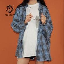 Женская винтажная рубашка в клетку Повседневная Свободная блузка