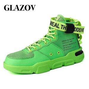 Image 1 - Männer High Top Sneakers Mode Trend Heißer Verkauf Komfortable Mann Casual Schuhe Hip Hop Haspe Im Freien Nicht slip atmungsaktive Männer Schuhe
