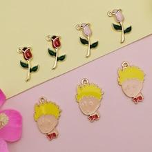 10pcs Cartoon Little Prince And Rose Enamel Charms Pendants Metal Boy Flower Dangle Fit Earrings DIY Jewelry Accessories FX444 scott woods prince and little weird black boy gods