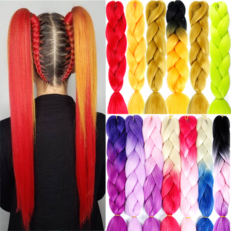 AILIADE 24 inch Jumbo Braids Long Ombre Synthetic Braiding Kanekalon Hair Extensions Crochet Blonde African White Black Women