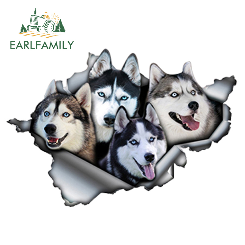 EARLFAMILY 13cm X 8.9cm Funny Huskies Car Sticker Torn Metal Decal Reflective Stickers Waterproof 3D Car Styling Pet Dog Decals