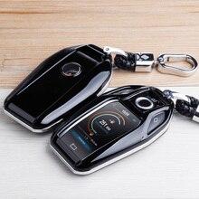 Capa de chave remota de fibra de carbono, para bmw 6 7 series 740 6 série gt 5 530i x3 saco do chaveiro auto acessórios