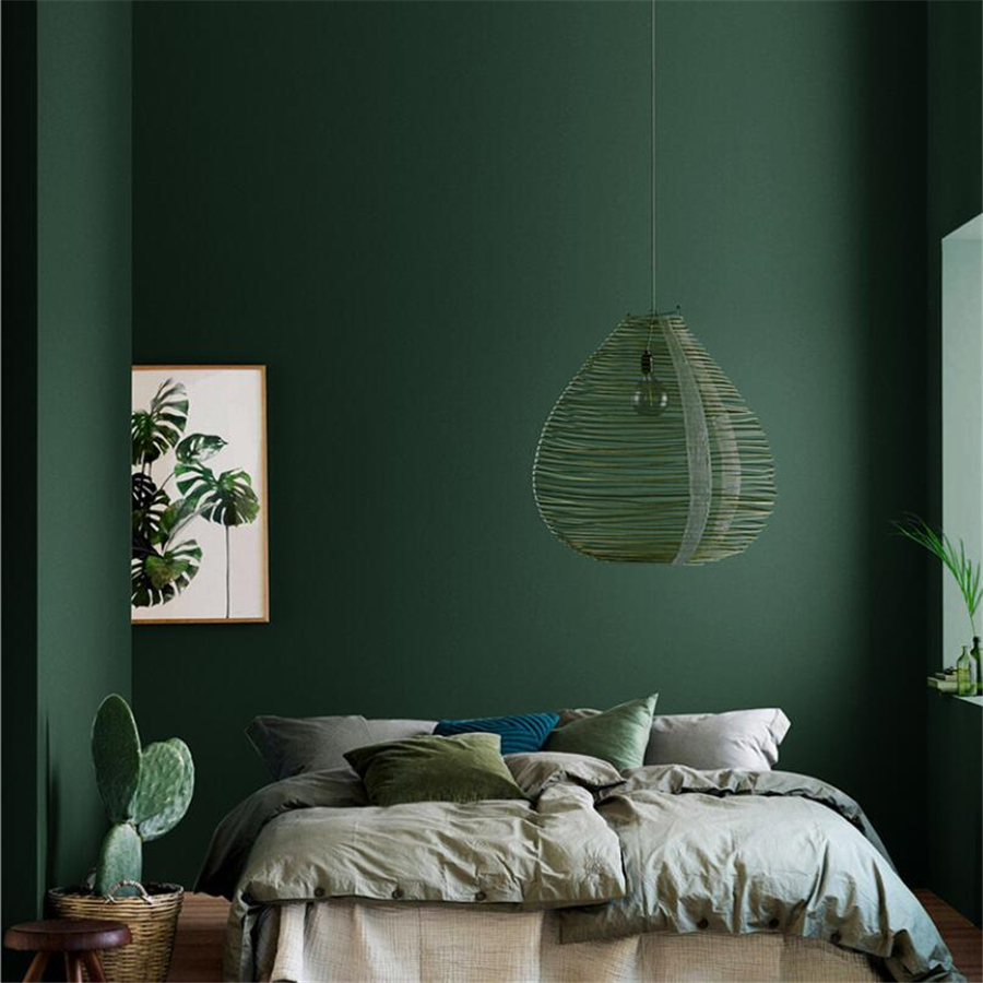 WELLYU American Retro Pure Color Ink Dark Green Wallpaper Nordic Style Bedroom Living Room Sofa Background Wall Paper Modern
