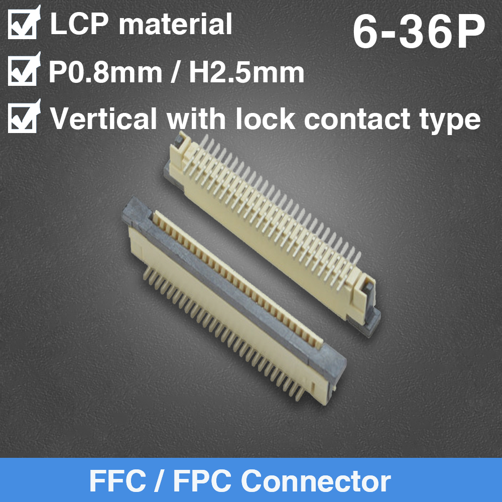FFC FPC Socket 0.8mm Vertical with Lock Contact Type Ribbon Flat Connector 6/8/9/10/12/14/16/18/20/22/23/24/26/30/36 Pin image