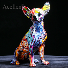 Creative Color Chihuahua Dog Statue Resin sculpture Crafts Simple Living Room Ornaments Home Office Store Decors Decorations
