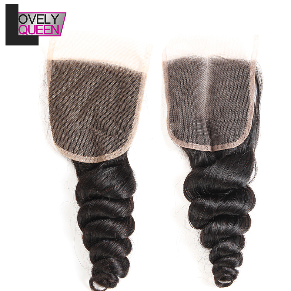 Peruvian Loose Wave Human Hair Lace Closure 4x4 Remy Hair 130% Density Natural Color Can Be Dyed and Bleached