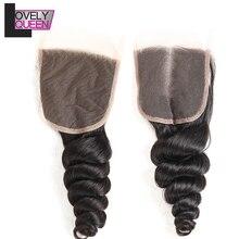 Перуанское неплотное переплетение человеческих волос Кружева Закрытие 4x4 remy волосы 130% плотность натуральный цвет можно окрашивать и отбеливать