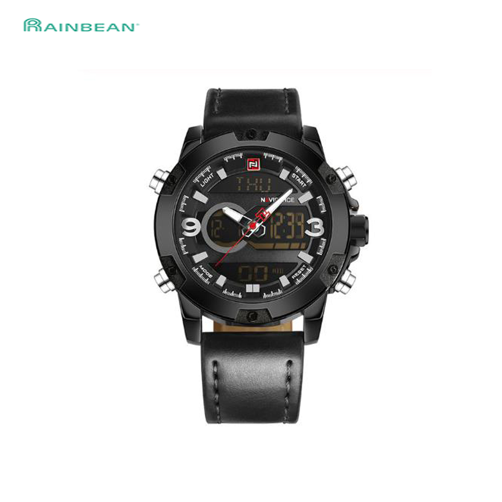 NAVIFORCE Men Sport Watches Male Top Luxury Brand Quartz Digital Clock Man Waterproof Leather Army Wrist Watch