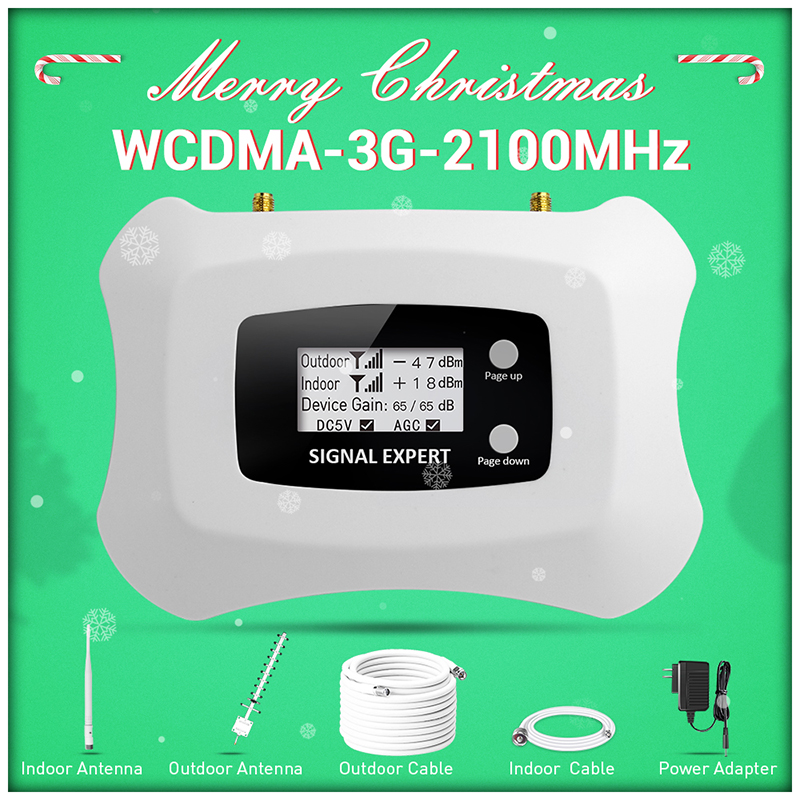 2019 WCDMA 3G 2100MHz Mobile Signal Booster 3G Cellular Signal Amplifier Repeater With Yagi Antenna Kit MTS Beeline Vodafone