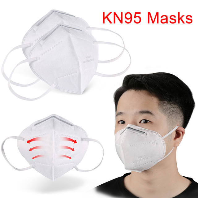 10pcs Medical N95 Mask Anti Air Dust Face Mask Mouth 95% Filtration Windproof Proof Flu Masks Protective Respirator Reusable 5
