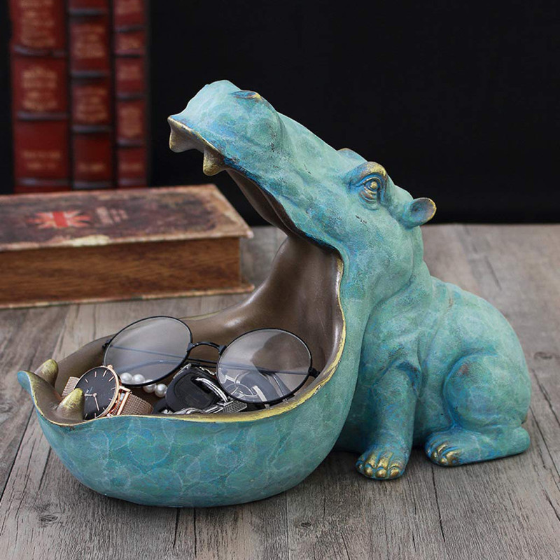Hippo Resin Figurines Keychain Desktop Decoration Home Ornament