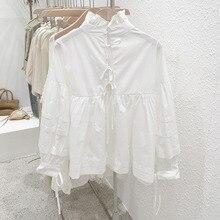 Mooirue Autumn Vintage Bow Blouse Women Turtleneck Bandage Harajuku Niche Design Cardigan Korean Style Streetwear White