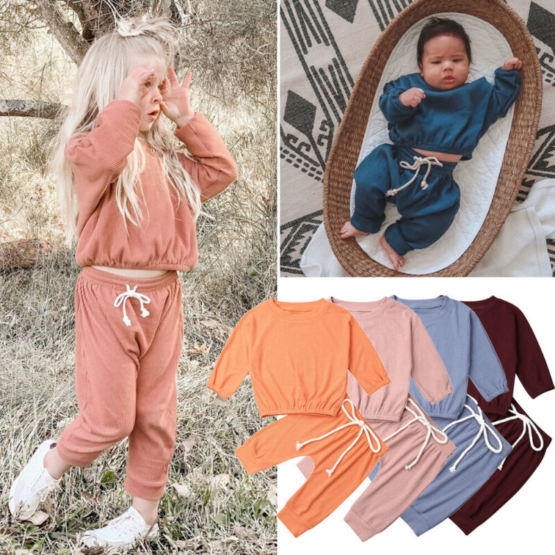 0-24M Newborn Kid Baby Girl Boy Clothes Set Long Sleeve Top And Pant Suit Casual Plain Solid Color Tracksuit Outfit