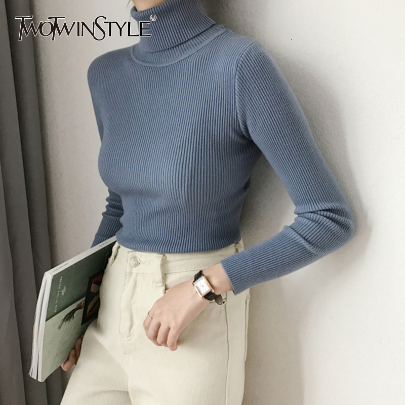TWOTWINSTYLE Black Knitting Sweater Women Turtleneck Long Sleeve Slim Thin Knitwear Female Autumn 2020 Casual Fashion Tide