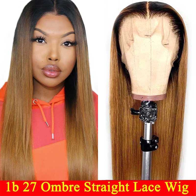 1b 27 Ombre Straight Lace Front Human Hair Wigs Honey Blonde Highlights Remy Brazilian Lace Frontal Wigs For Black Women