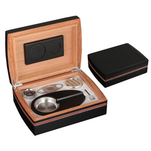 GALINER Cigar Humidor Case Box Travel Outdoor Accessories Set Ashtray Cutter with Humidifier Hygrometer