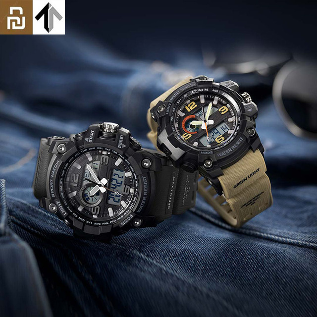 TwentySeventeen Outdoor Double Display Digital Watch Original imported movement Multi function dial Dual time Waterproof For Men