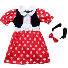Girls Minnie Mouse Costume Dot Printed Dress with Headband Halloween Costumes Kids Birthday Outfit for Photo Shoot