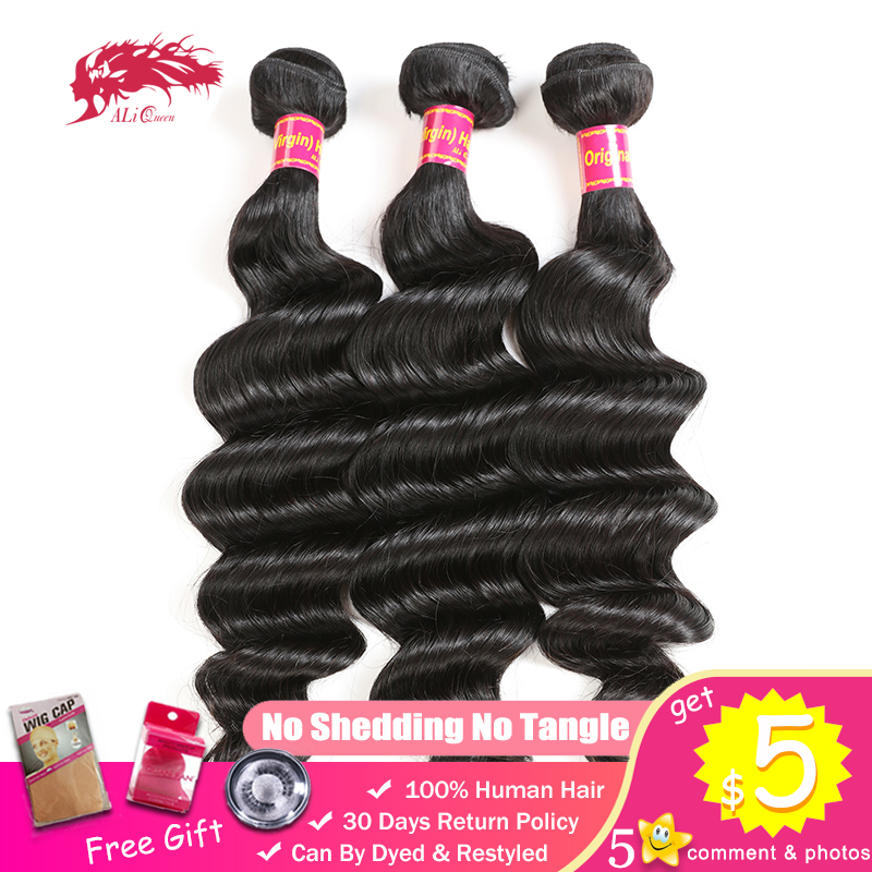 Ali Queen One-Donor Brazilian Unprocessed Virgin Human Hair Weaving Extension Loose Deep Wave Bundle Natural Color Double Drawn