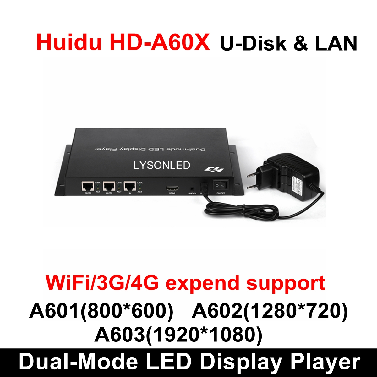 Huidu HD-A601 HD-A602 HD-A603 Full Color Async & Sync Dual-mode LED Controller LED Display Player Box ,3G/4G/WiFi Expend Support