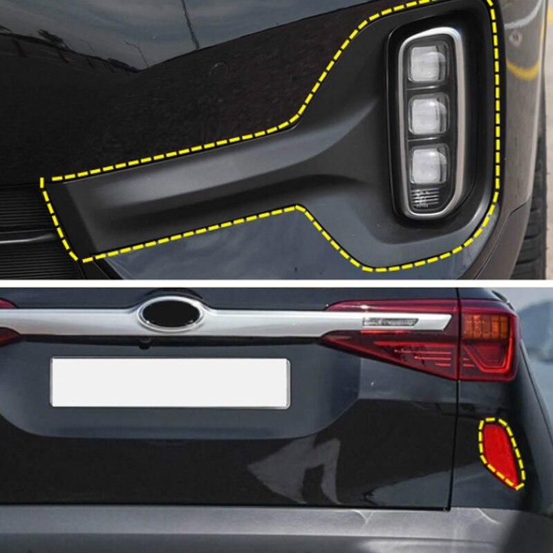 Para kia seltos 2019 2020 frente & traseira luzes de nevoeiro quadro capa guarnição estilo do carro acessórios