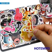 50pcs Cartoon Cute Animal Stickers Freehand Watercolour for Kid Gift DIY Mobile Phone Laptop Luggage Skateboard Waterproof Decal