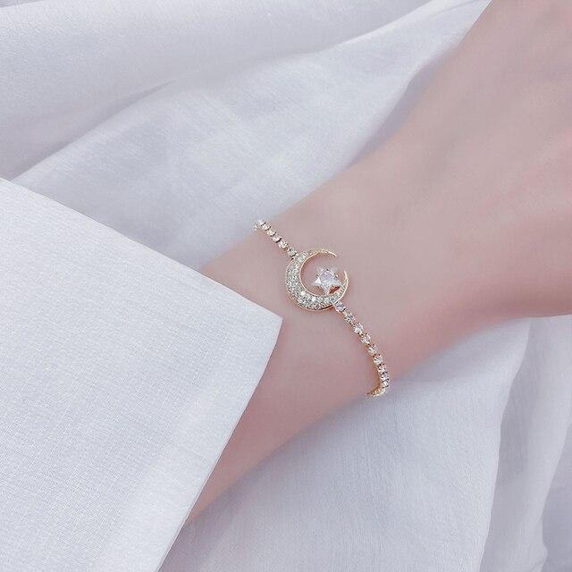 2020 New Arrive Elegant Delicate Zircon Moon Star Bracelet Bling Micro Inlaid Zirconia Feminia Pulseras Bangles Anniversary Gift 3