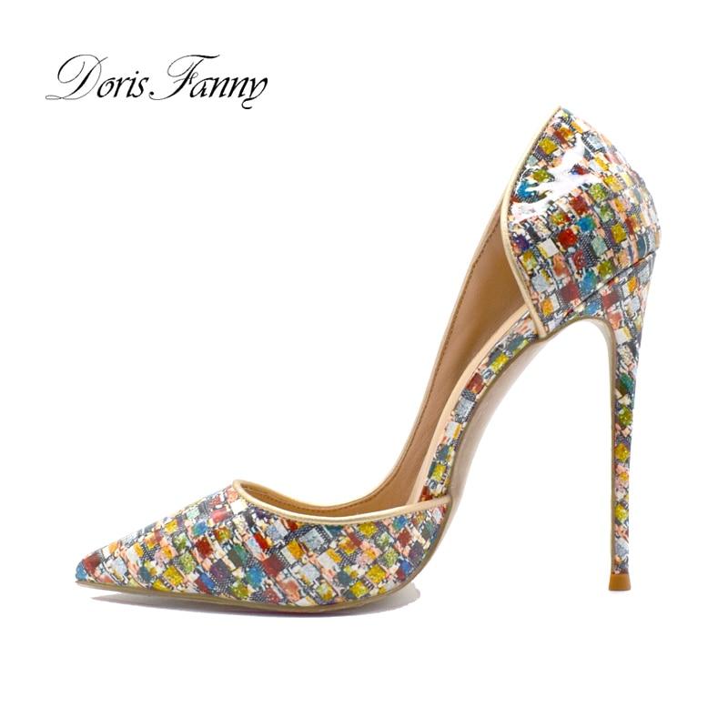 Doris fanny impresso multicolorido sapatos femininos bombas