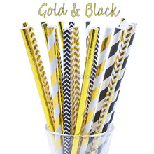 25pcs/lot Foil Mix Gold/Black Drinking Paper Straws For Kids Birthday Wedding Mickey Mouse Cake Flags Event Party Supplies