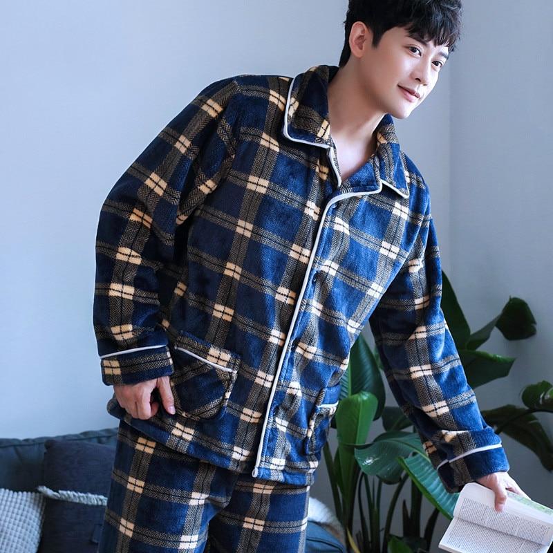 H5891 Men Pajamas Set Temperament Plaid Thick Coral Velvet Fall Winter Sleepwear Long Sleeve Flannel Turn Down Collar Nightgown