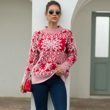 Christmas Sweater Knitted Women Long Sleeve Sweaters Winter 2019 Autumn Red