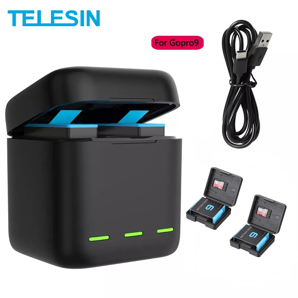 Telesin Battery 1750 Mah For Gopro Hero 9 3 Ways Led Light Charger Tf Card Battery Storage For Gopro9 Hero9 Black Skillful Manufacture