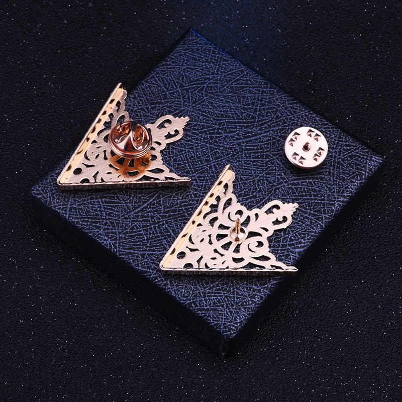 Retro trójkąt metalowa broszka męska kołnierzyk Pin Shirt przypinany kołnierz klasyczny Vintage emaliowane broszki odzież damska akcesoria