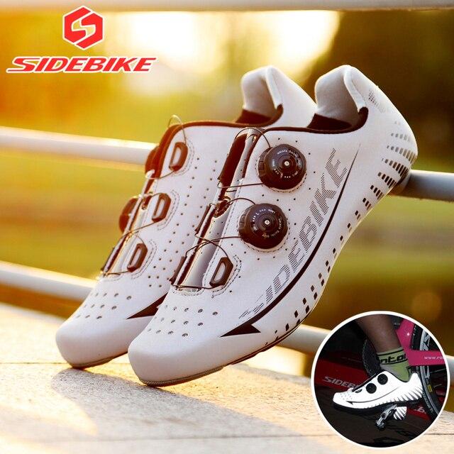 Seleção de vários estilos de sapatos de ciclismo de estrada, sola leve reflexiva de fibra de carbono superior e autotravamento 1