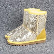 Shoes Short-Boots Waterproof Women Winter Fur Sequin Warm Outdoor Hot Unisex