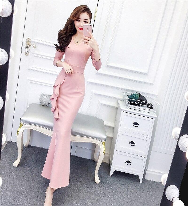 Flounced Long Dress 2019 Autumn New Style Europe And America V-neck Slit Debutante Elegant Formal Dress Long Skirts