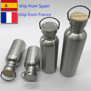 Portable Stainless Steel Water Bottle 1000ml Bamboo Lid Sports Flasks Travel Cycling Hiking Camping Bottles BPA Free