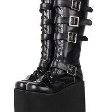 Angelic impressum Frauen motorrad coole punk stiefel dame lolita schuhe frau super high heels pumps big keile ferse 33-47 9708 15cm