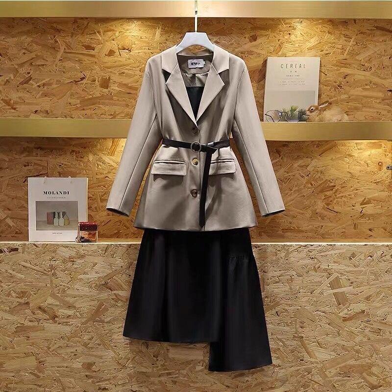 Women Suit Work Suits Ol 2 Piece Set For Woman Plus Size Suit Jacket Suspender Dress Suit Spring Female Set Office Lady Outfits