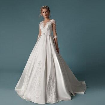Recién llegado, satén sencillo, vestidos de boda, bata de manga de tres...
