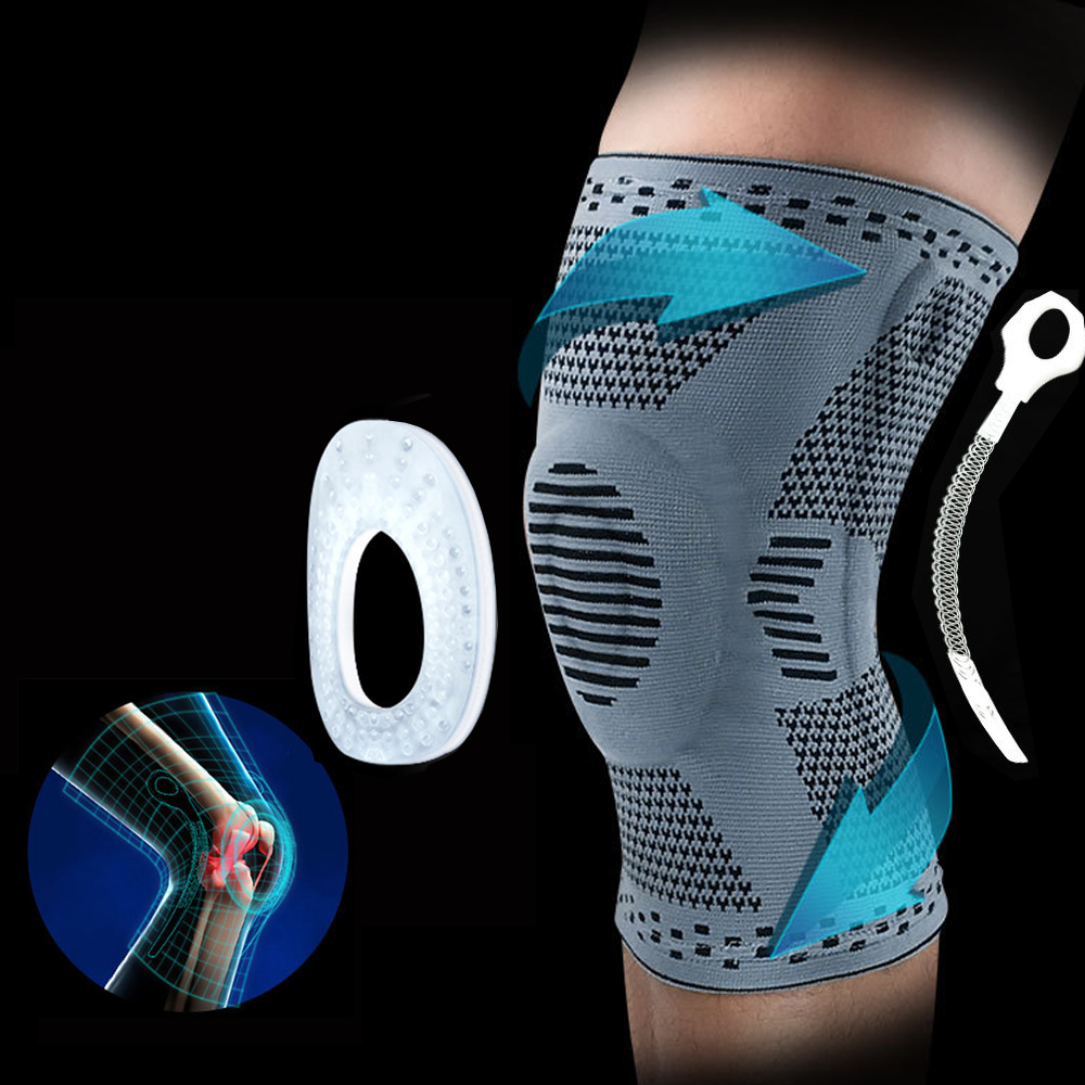 1PCS Knee support Brace Silicone Spring Knee Pads Sports Knitted Compression Elastic Knee Sleeve Support basketball running bike(China)